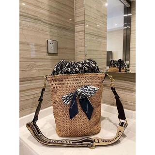 Dior - Dior ディオール リボン付き編み ショルダーバッグ かごバッグ