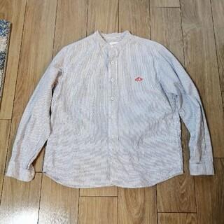 ダントン(DANTON)のDANTON バンドカラーシャツ 38 ネイビーストライプ(シャツ)