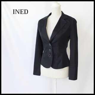 イネド(INED)のイネド★日本製 テーラードジャケット 紺 9号(M) 軽量 美シルエット(テーラードジャケット)