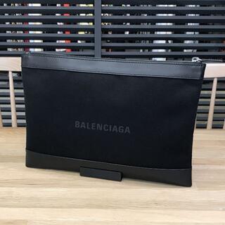 Balenciaga - 超美品 バレンシアガ 現行 ネイビークリップM クラッチバッグ 黒