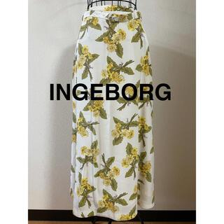 INGEBORG - INGEBORG インゲボルグ スカート たんぽぽ 花 ベルト付き