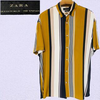 ZARA - ZARA アロハシャツ ブラウン ストライプ