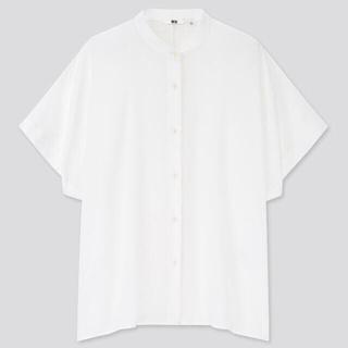 ユニクロ(UNIQLO)の【オンライン特別商品】レーヨンスタンドカラーブラウス 白 XXL(シャツ/ブラウス(半袖/袖なし))