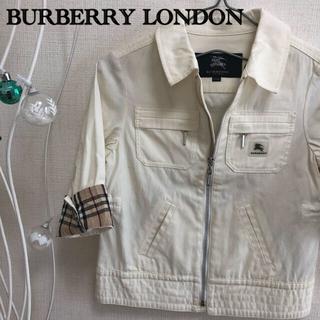 バーバリー(BURBERRY)のBURBERRY LONDON ノバチェック ダブルジッパージャケット白 110(ジャケット/上着)