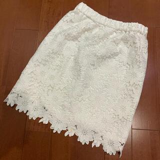 アストリアオディール(ASTORIA ODIER)のアストリア 白花柄 レーススカート(ひざ丈スカート)
