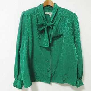 ジバンシィ(GIVENCHY)のGIVENCHY ヴィンテージ ブラウス 長袖 総柄 リボン 緑 15(シャツ/ブラウス(長袖/七分))