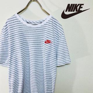 ナイキ(NIKE)のNIKE ナイキ Tシャツ ボーダー 刺繍ロゴ スウォッシュロゴ L(Tシャツ/カットソー(半袖/袖なし))