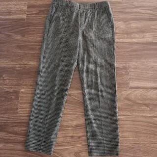 インディヴィ(INDIVI)のINDIVI.VAI 9分丈パンツ 緑×黒チェック Lサイズ(40)(カジュアルパンツ)