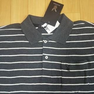 プレイボーイ(PLAYBOY)のMサイズ  新品  プレイボーイ  長袖ポロシャツ  濃グレー  ボーダー(ポロシャツ)