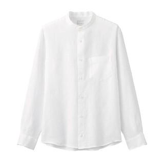 MUJI (無印良品) - 無印良品オーガニックリネン洗いざらしスタンドカラーシャツ