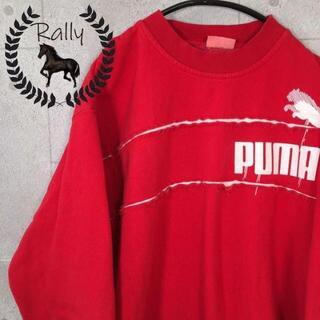 プーマ(PUMA)のB175 プーマ/プリント/刺繍/デザイン/トレーナー/赤/レア/切替(スウェット)