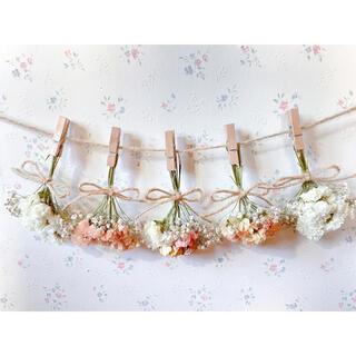 淡い3種のバラのホワイトオレンジドライフラワーガーランド♡スワッグ♡ミニブーケ(ドライフラワー)