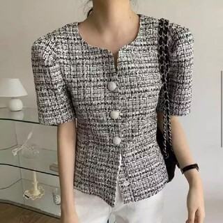 dholic - 韓国ファッション 高見え ツイードショートジャケット