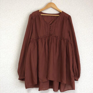 GU - ♪ ジーユー大きいサイズ ゆったり袖、Aラインチュニック ブラウン 新品タグ付♪