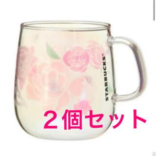 Starbucks Coffee - 2個セット!スターバックス 耐熱グラスマグホログラムフラワーズ355ml