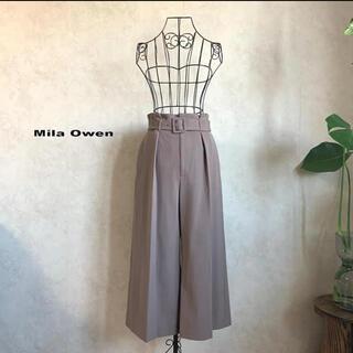 Mila Owen - 【美品】ミラオーウェン ベルト付ハイウエストガウチョパンツ