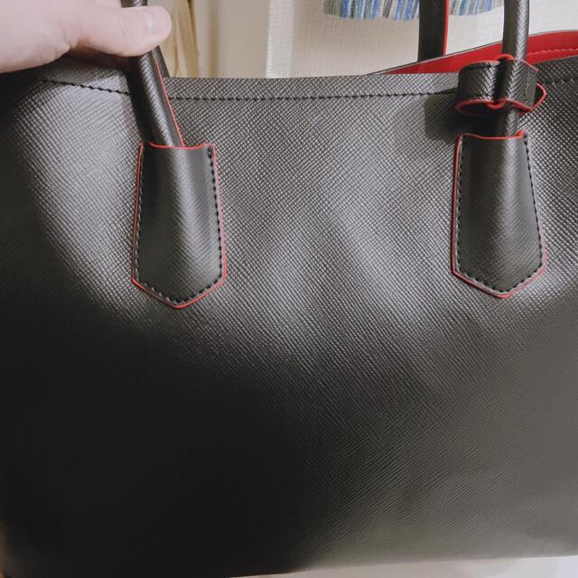 PRADA(プラダ)のPRADA プラダ サファイアーノ ダブルバッグ 黒 赤 レディースのバッグ(ショルダーバッグ)の商品写真