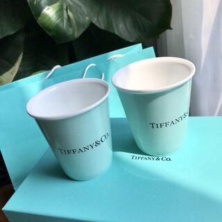 ティファニー(Tiffany & Co.)のティファニー ボーンチャイナ ペーパーカップ 2個セット ペア マグ カップ(グラス/カップ)