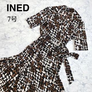 イネド(INED)のINED イネド 夏 ブラウン ワンピース オープンカラー ウエストマーク(ひざ丈ワンピース)