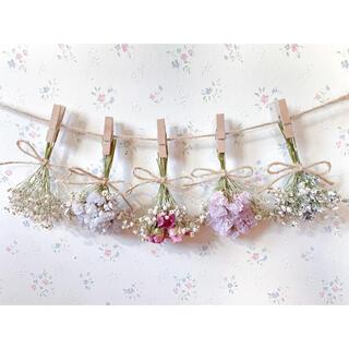 ピンクのバラとかすみ草のパステルドライフラワーガーランド♡スワッグ♡ミニブーケ(ドライフラワー)