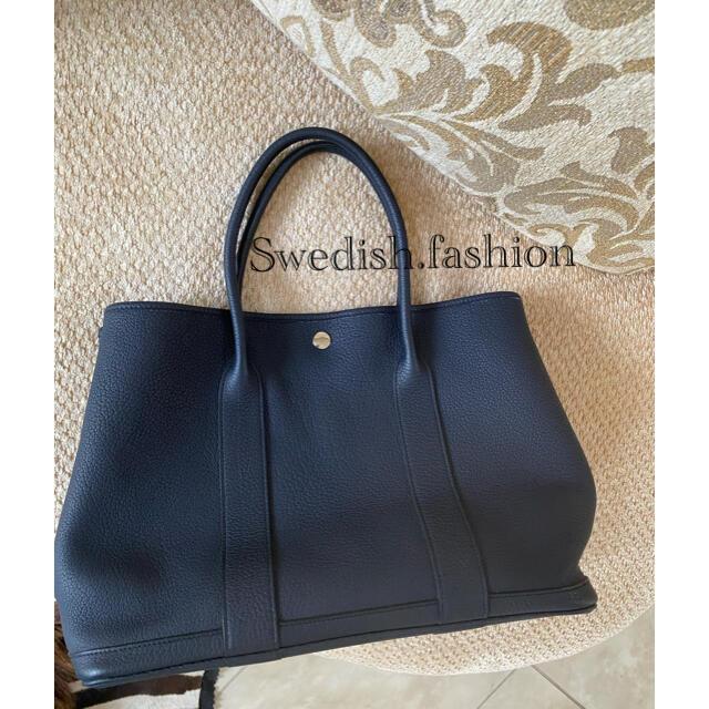 Hermes(エルメス)のブルーインディゴ・ガーデンパーティー・大変美品 レディースのバッグ(トートバッグ)の商品写真