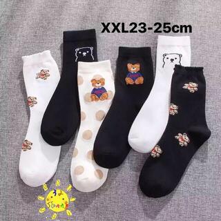 0600XXL クマ柄 靴下 4足組 可愛い