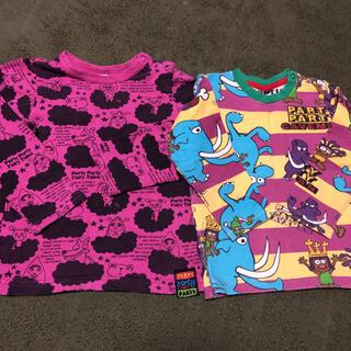 パーティーパーティー(PARTYPARTY)の90 95 partyparty 総柄 恐竜 マンモス ロンT  2枚セット(Tシャツ/カットソー)