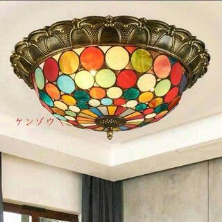 新品 天井照明ステンドグラスランプ ペンダントライト ガラス工