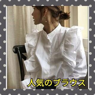 ZARA - 韓国ファッション 人気のフリル ブラウス トレンド ホワイト 即日発送