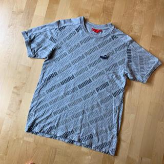 プーマ(PUMA)のPUMA プーマ ロゴTシャツ M グレー 刺繍ロゴ ラグランスリーブ(Tシャツ/カットソー(半袖/袖なし))