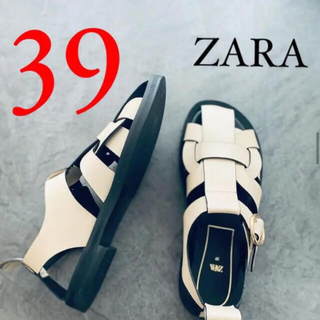 ZARA - 新品 ZARA ザラ レザーフラットサンダル フラットケージサンダル 39