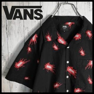 ヴァンズ(VANS)の【希少デザイン】VANS ロゴ総柄 開襟 オープンカラーシャツ コットン(シャツ)