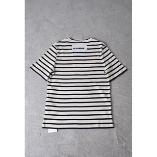 ジルサンダー(Jil Sander)のJil Sander Plus ストライプ ロゴパッチ Tシャツ(Tシャツ/カットソー(半袖/袖なし))