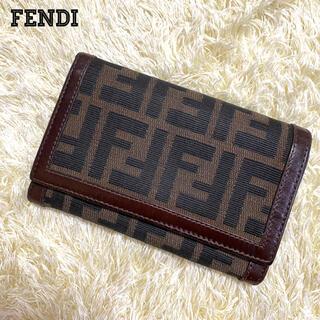 フェンディ(FENDI)の極美品 FENDI  ズッカ柄 三つ折り ウォレット 財布 キャンバス ブラウン(折り財布)
