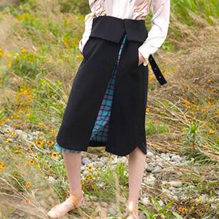 マメ(mame)のakane utsunomiya ベルト付きチェックスカート(ロングスカート)