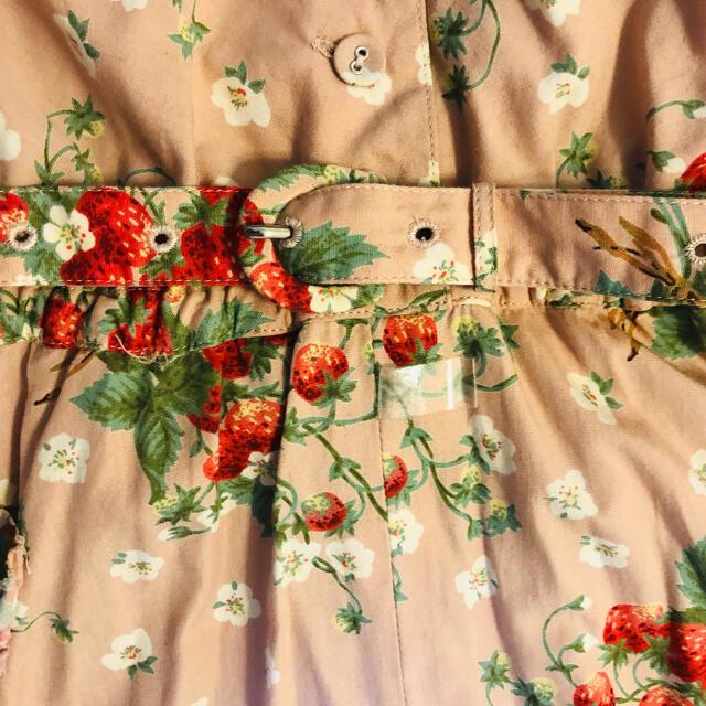 PINK HOUSE(ピンクハウス)のピンクハウスいちご柄セーラー襟ワンピースベルト付 レディースのワンピース(ロングワンピース/マキシワンピース)の商品写真