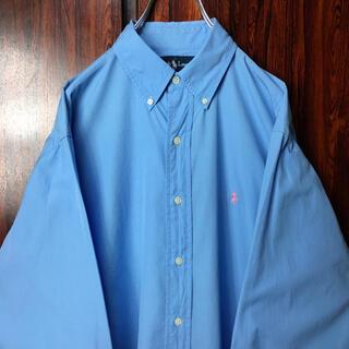 Ralph Lauren - ラルフローレン 刺繍ロゴ BDシャツ 水色 M ビッグシルエット
