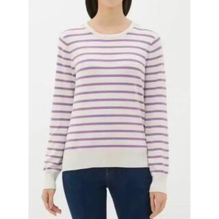 ジーユー(GU)の長袖 GU ジーユー ボーダー セーター 薄手 レディース  L 紫 白 春(ニット/セーター)