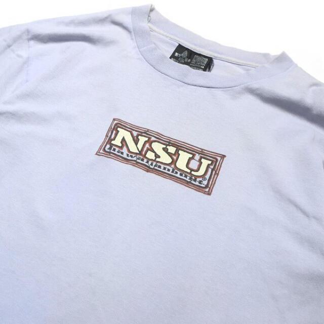 【90s】USA製 NSU オールドサーフ BOXロゴ Tシャツ パープル M メンズのトップス(Tシャツ/カットソー(半袖/袖なし))の商品写真