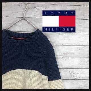 TOMMY HILFIGER - トミーヒルフィガー 王道トミーカラーニット リブ部分ワンポイントロゴ刺繍