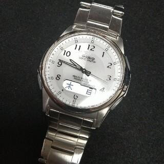 カシオ(CASIO)の【ソーラー電波】CASIO ウェーブセプター  白文字盤(腕時計(アナログ))
