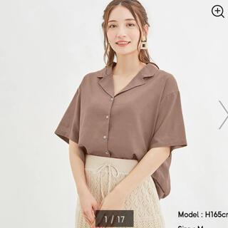 GU - gu リネンブレンドオープンカラーシャツ 5分袖
