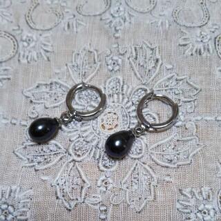 黒真珠のピアス シンプル雫ドロップデザインタイプ(ピアス)