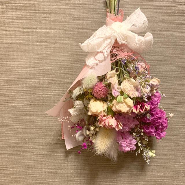 ドライフラワー 春色スワッグ ピンク ハンドメイドのフラワー/ガーデン(ドライフラワー)の商品写真