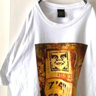 オベイ(OBEY)のObey オベイ デカロゴ Tシャツ XL ホワイト 白 古着(Tシャツ/カットソー(半袖/袖なし))