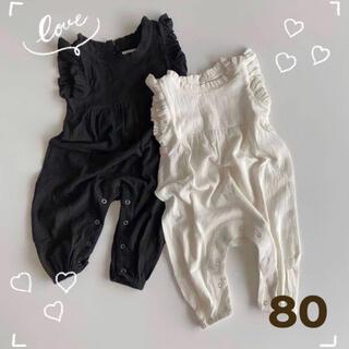 ブラック 80サイズ フリルロンパース 韓国子供服 夏