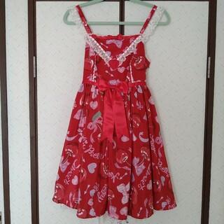 Angelic Pretty - Wrapping Cherryジャンパースカート アカ ラッピングチェリー