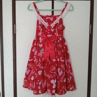 アンジェリックプリティー(Angelic Pretty)のWrapping Cherryジャンパースカート アカ ラッピングチェリー(ひざ丈ワンピース)