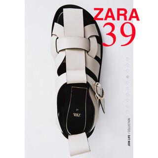 ZARA - ZARA 新品 レザー フラット サンダル ザラ ケージサンダル 39