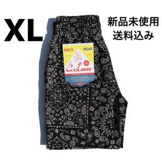 クックマン シェフパンツ ハーフパンツ ペイズリー 黒XL(ショートパンツ)